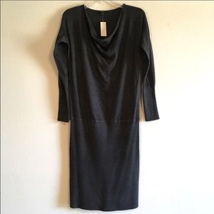 NWT Ann Taylor Fitted Midi Dress Bodycon Gray Maxi